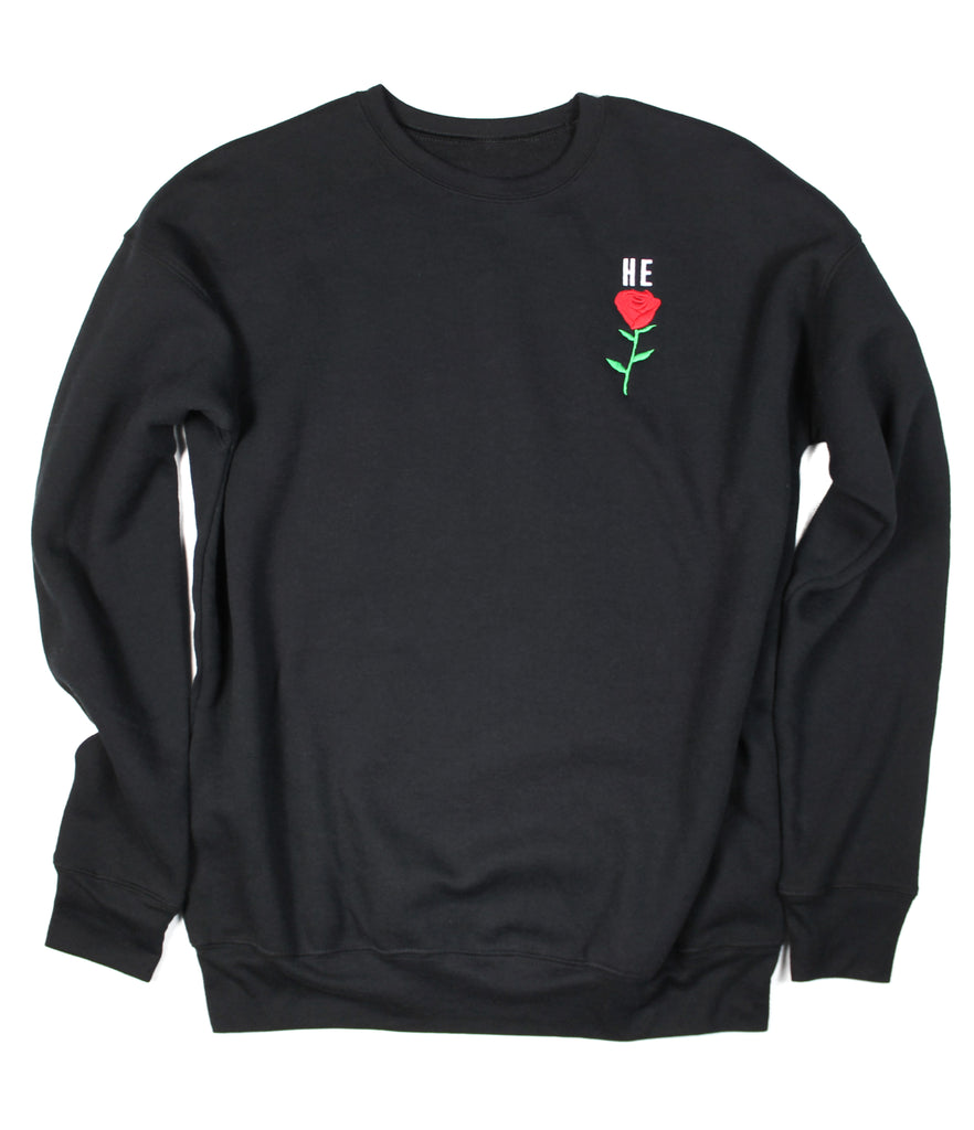 HE ROSE BLACK CREWNECK SWEATSHIRT