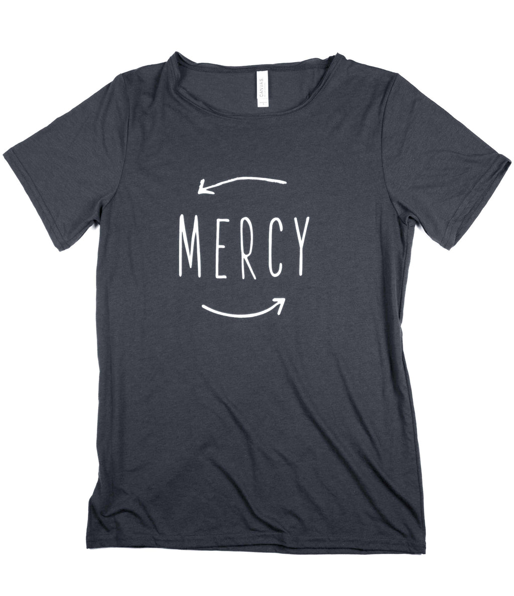MERCY DARK GREY RAW NECK T-SHIRT