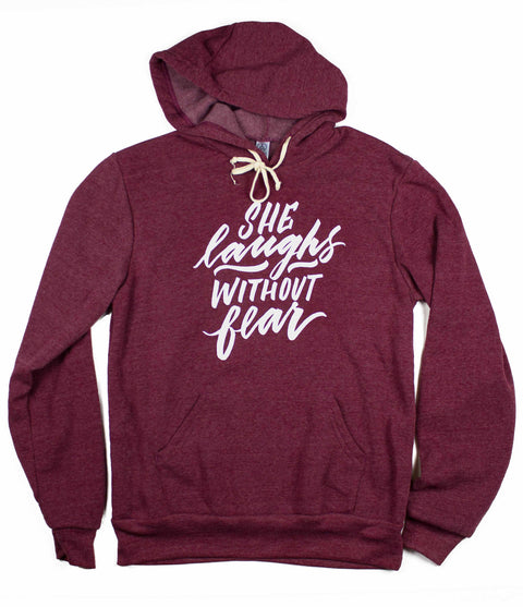 SHE LAUGHS MAROON PULLOVER HOODIE