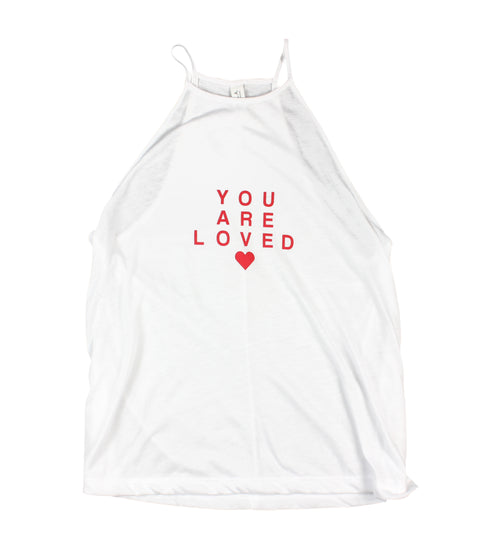 YOU ARE LOVED RED LETTER WOMEN'S FLOWY HIGH NECK TANK