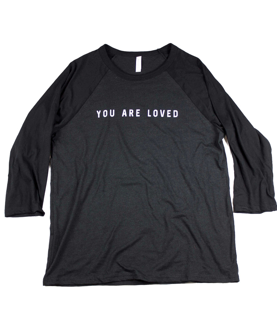 YOU ARE LOVED BLACK RAGLAN BASEBALL T-SHIRT
