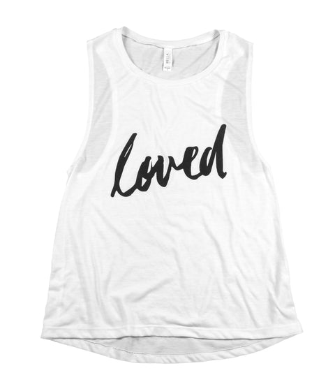 LOVED WHITE WOMEN'S FLOWY MUSCLE TANK