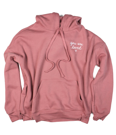 YOU ARE LOVED EMBROIDERED SCRIPT MAUVE HOODIE