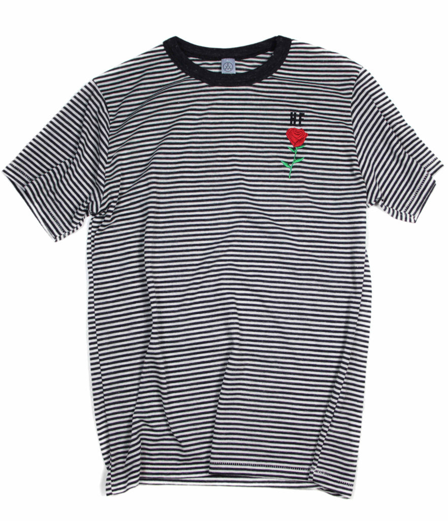 HE ROSE EMBROIDERED BLACK RINGER STRIPE SLEEVE T-SHIRT