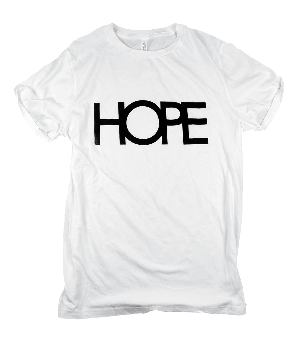 HOPE WHITE ROLLED SLEEVE T-SHIRT