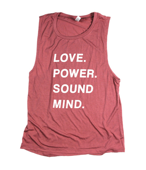 LOVE POWER SOUND MIND MAUVE WOMEN'S FLOWY MUSCLE TANK