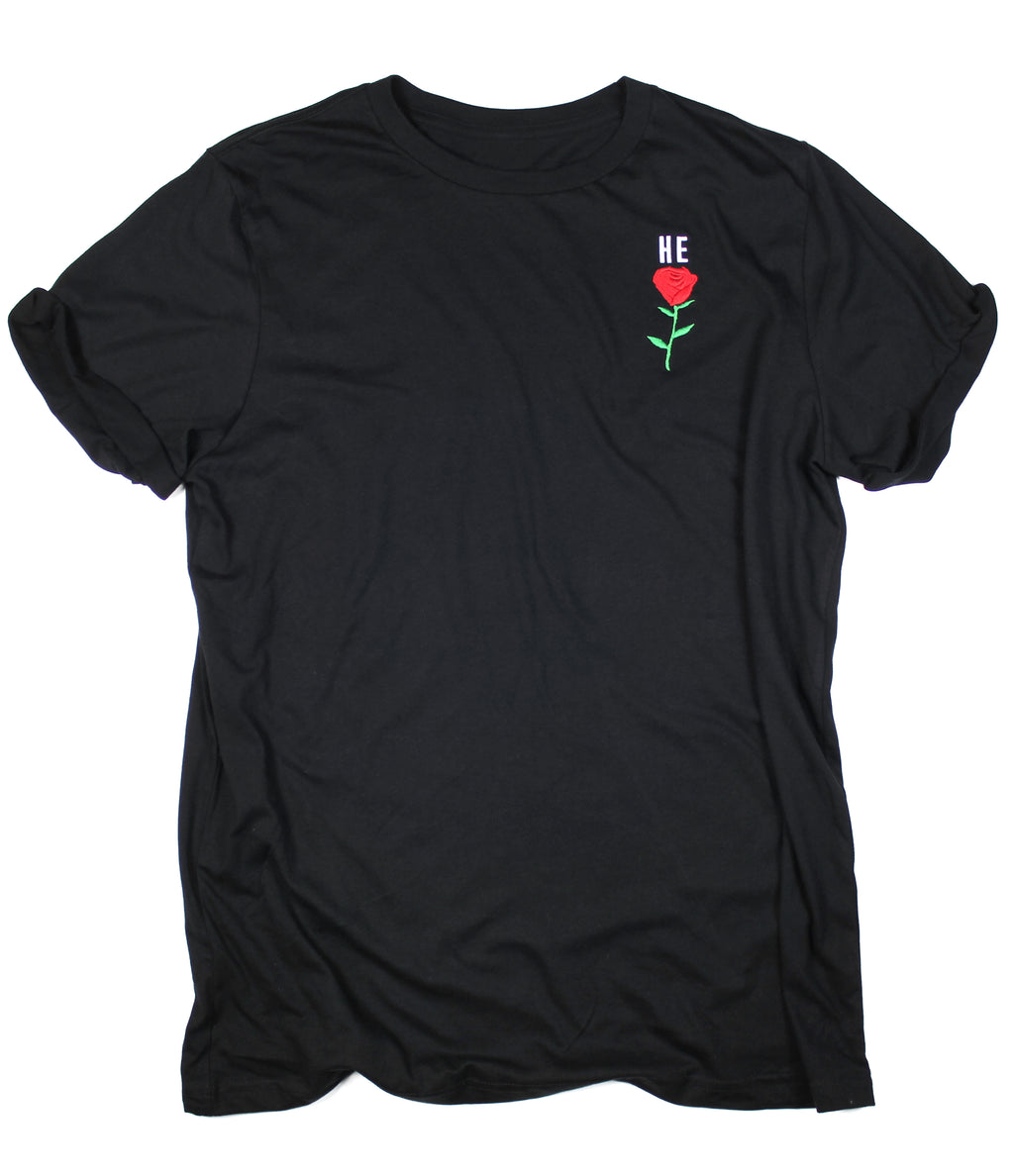 HE ROSE EMBROIDERED BLACK ROLLED SLEEVE T-SHIRT