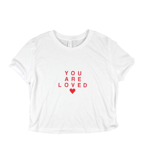 YOU ARE LOVED RED LETTER WHITE WOMEN'S FLOWY CROPPED TEE