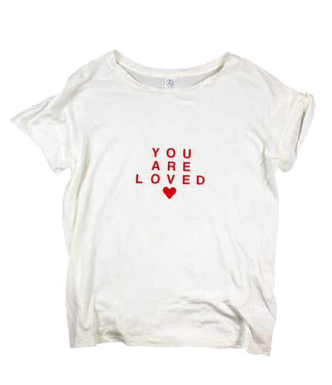 YOU ARE LOVED OFF-WHITE DISTRESSED WOMEN'S FITTED T-SHIRT