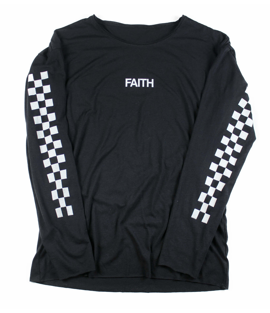 RACE OF FAITH BLACK RAW NECK LONG SLEEVE