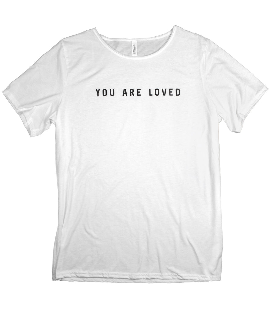 YOU ARE LOVED WHITE RAW NECK T-SHIRT