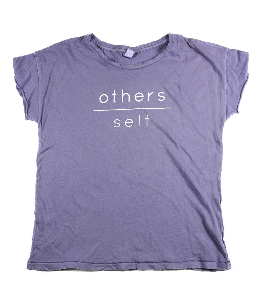 OTHERS OVER SELF LILAC DISTRESSED WOMEN'S FITTED T-SHIRT