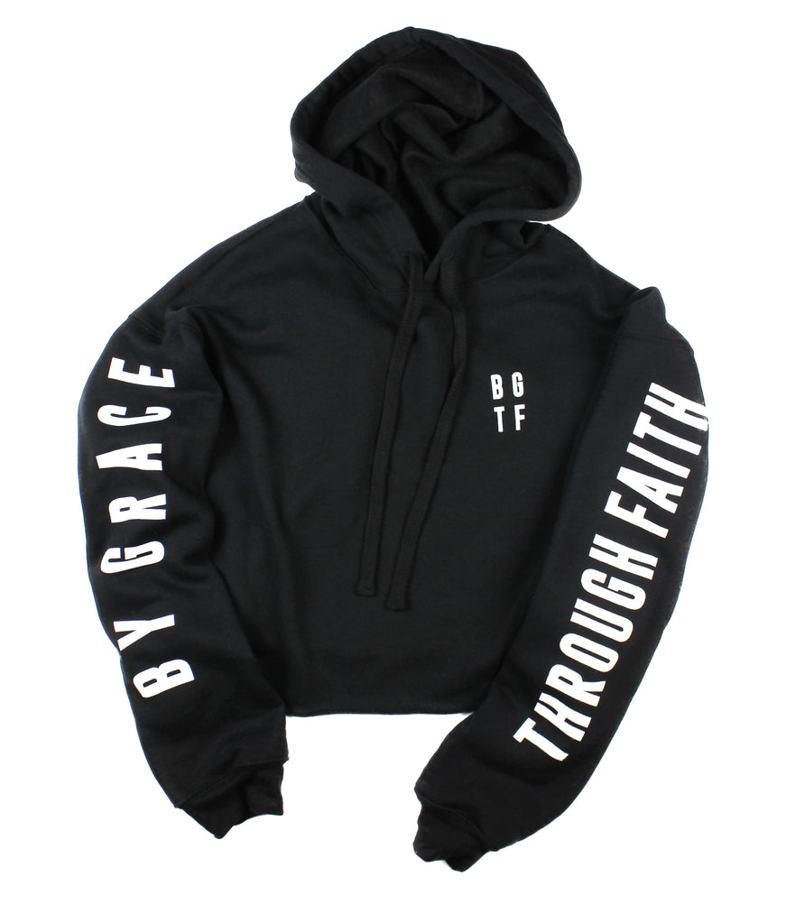 BY GRACE THROUGH FAITH BLACK CROPPED HOODIE