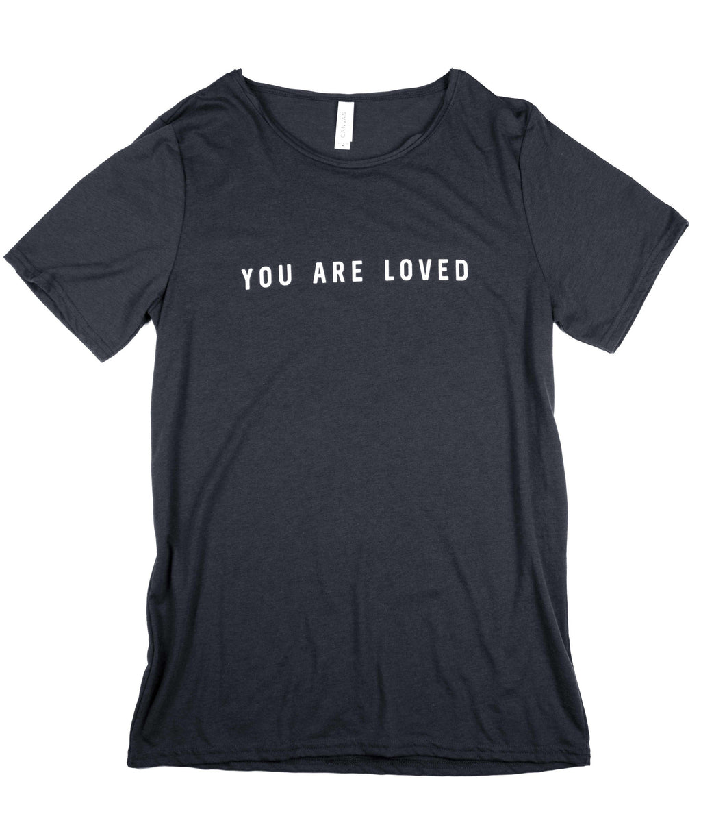 YOU ARE LOVED DARK GREY RAW NECK T-SHIRT