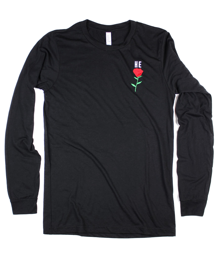 HE ROSE EMBROIDERED BLACK LONG SLEEVE
