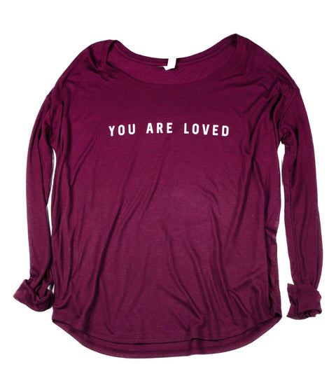 YOU ARE LOVED WOMEN'S MAROON FLOWY LONG-SLEEVE