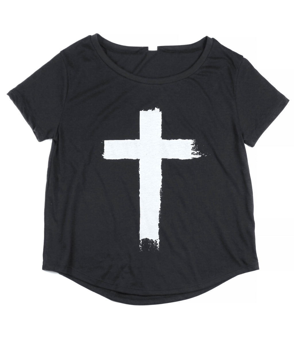 CROSS BLACK WOMEN'S SCOOP NECK T-SHIRT