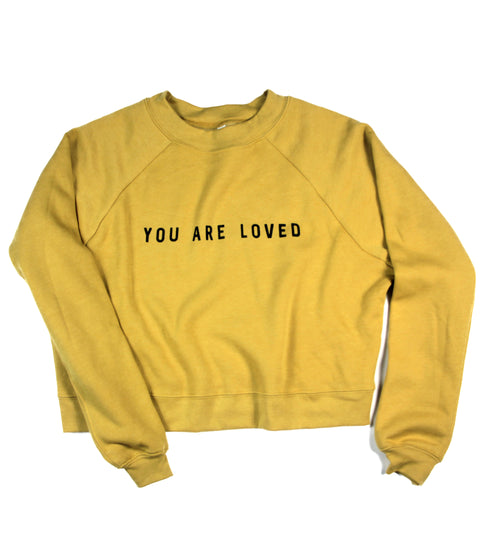 YOU ARE LOVED MUSTARD WOMEN'S RAGLAN PULLOVER FLEECE