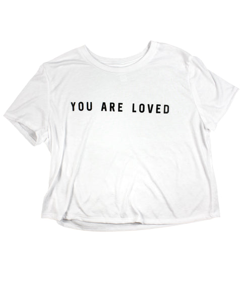 YOU ARE LOVED WHITE WOMEN'S FLOWY CROPPED TEE