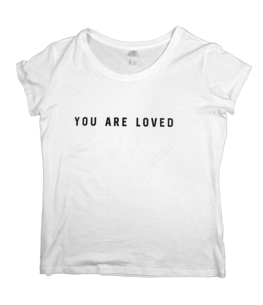 YOU ARE LOVED WHITE WOMEN'S SCOOP NECK T-SHIRT