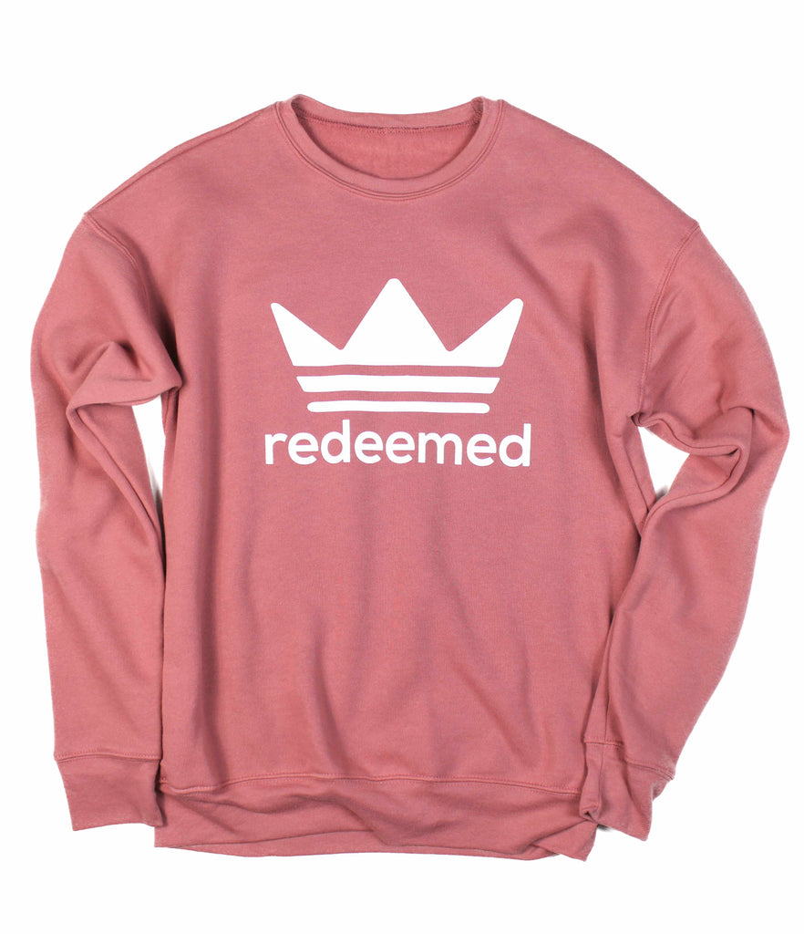 REDEEMED BY THE KING MAUVE CREWNECK SWEATSHIRT