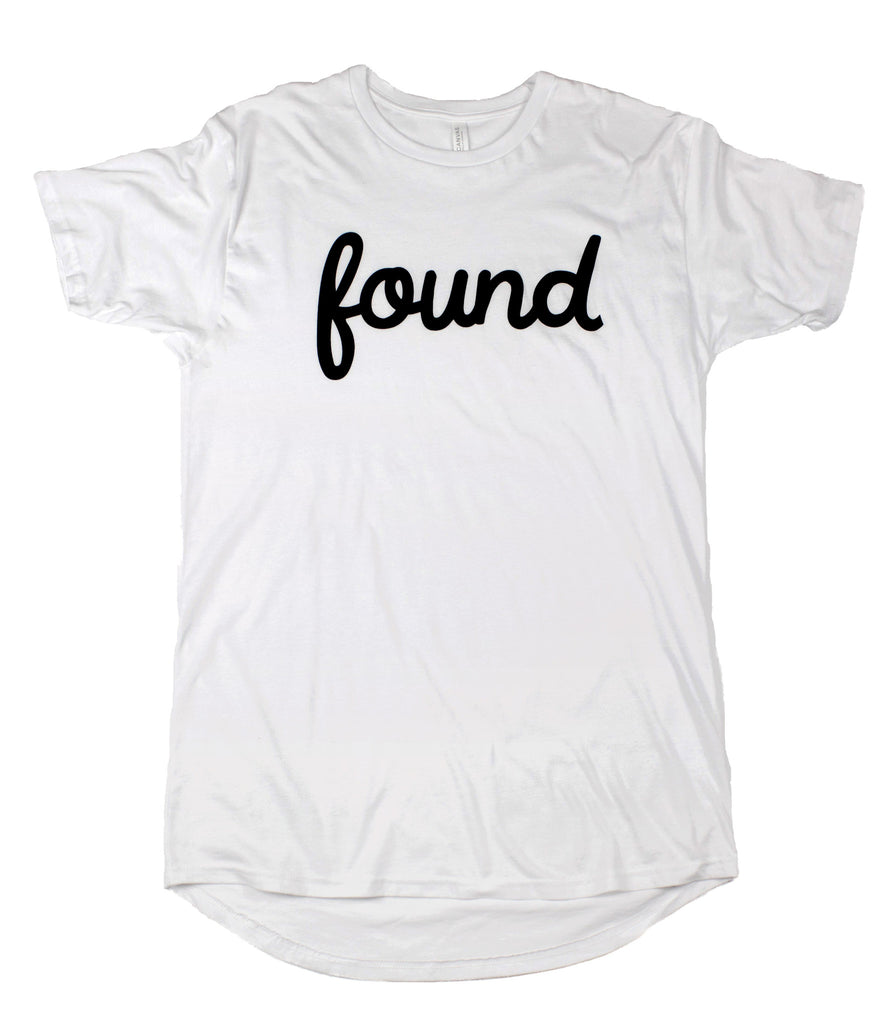 FOUND WHITE LONG-BODY T-SHIRT