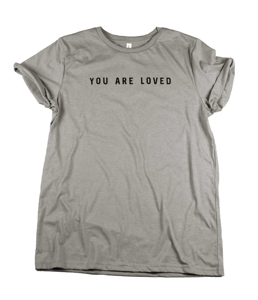 YOU ARE LOVED CONCRETE ROLLED SLEEVE T-SHIRT