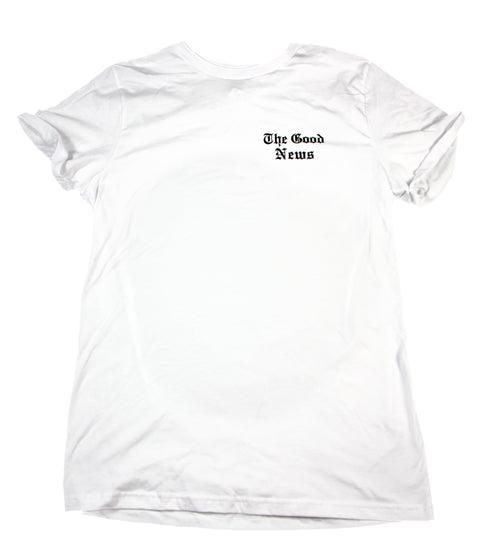 THE GOOD NEWS WHITE ROLLED SLEEVE T-SHIRT