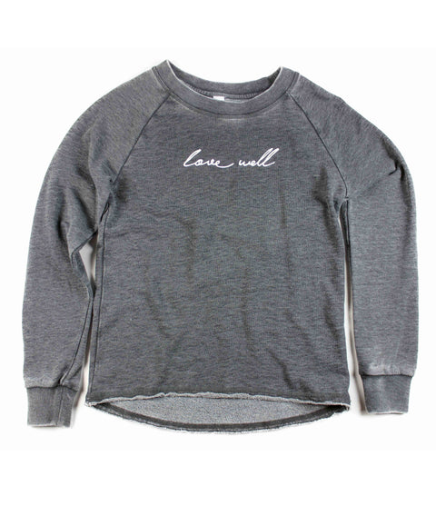 LOVE WELL ACID WASH PULLOVER