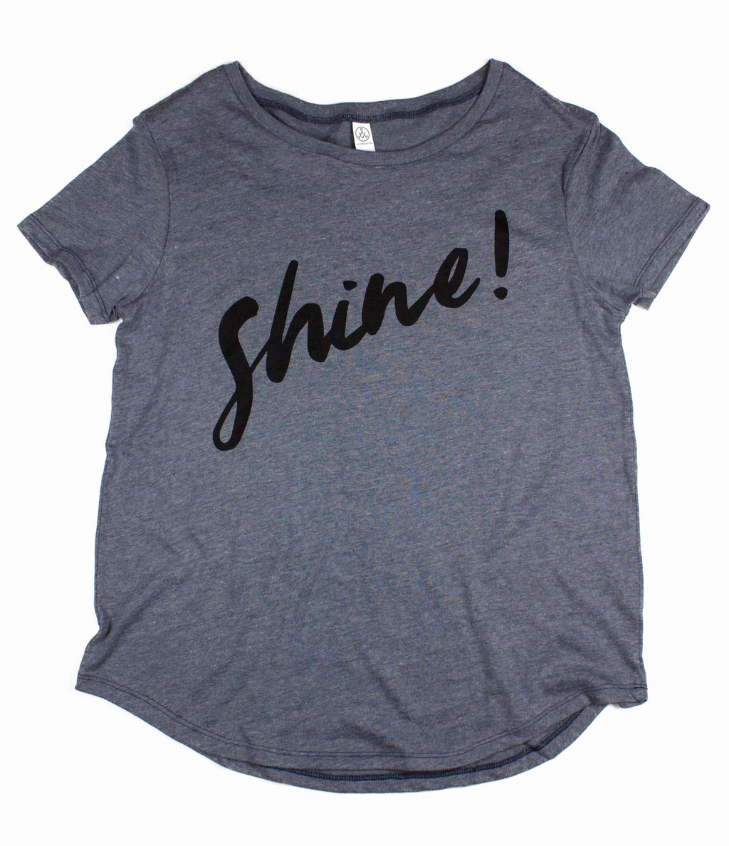 SHINE SLATE BLUE WOMEN'S SCOOP NECK T-SHIRT
