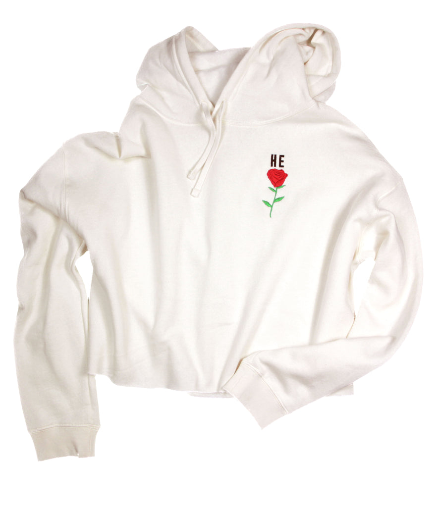 HE ROSE EMBROIDERED CREAM CROPPED HOODIE