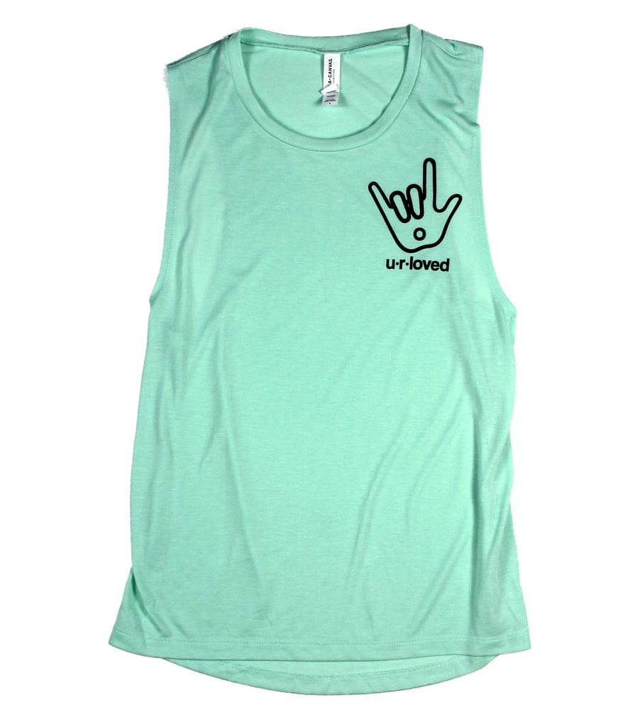 U.R.LOVED MINT WOMEN'S FLOWY MUSCLE TANK
