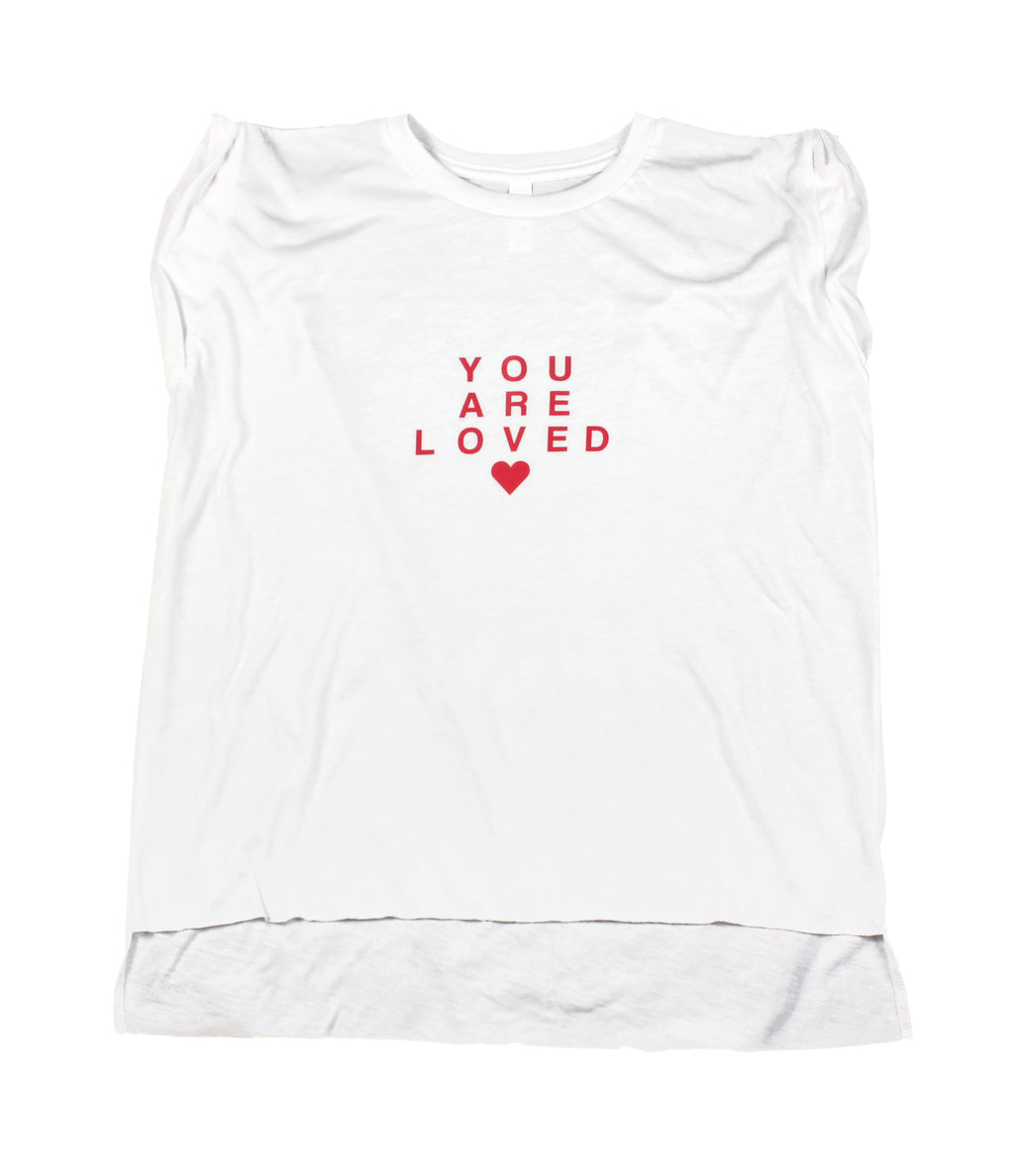 YOU ARE LOVED RED LETTER WOMEN'S MUSCLE T-SHIRT