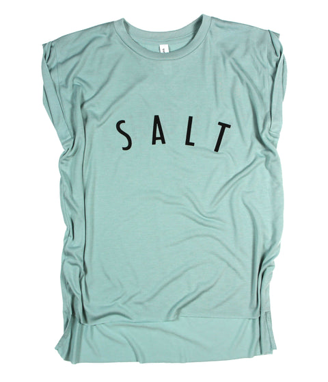 SALT + LIGHT DUSTY BLUE WOMEN'S ROLLED CUFF MUSCLE T-SHIRT