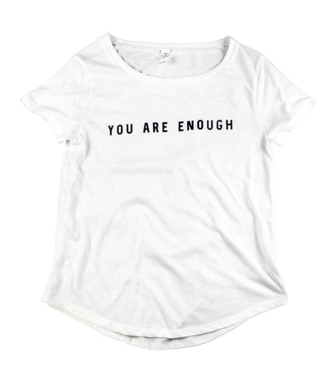 YOU ARE ENOUGH WHITE SCOOP NECK TEE