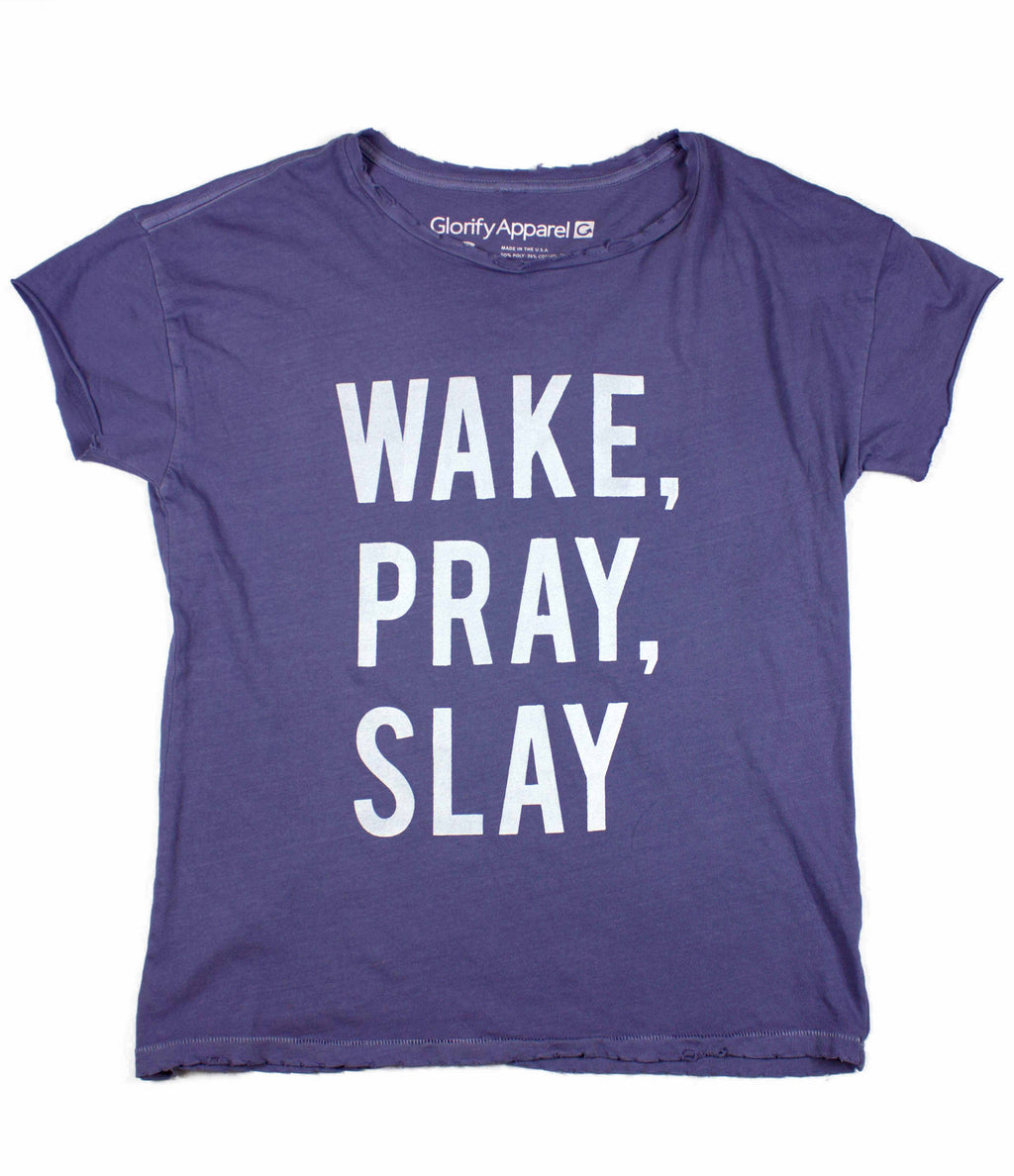 WAKE PRAY SLAY LILAC DISTRESSED WOMEN'S TEE