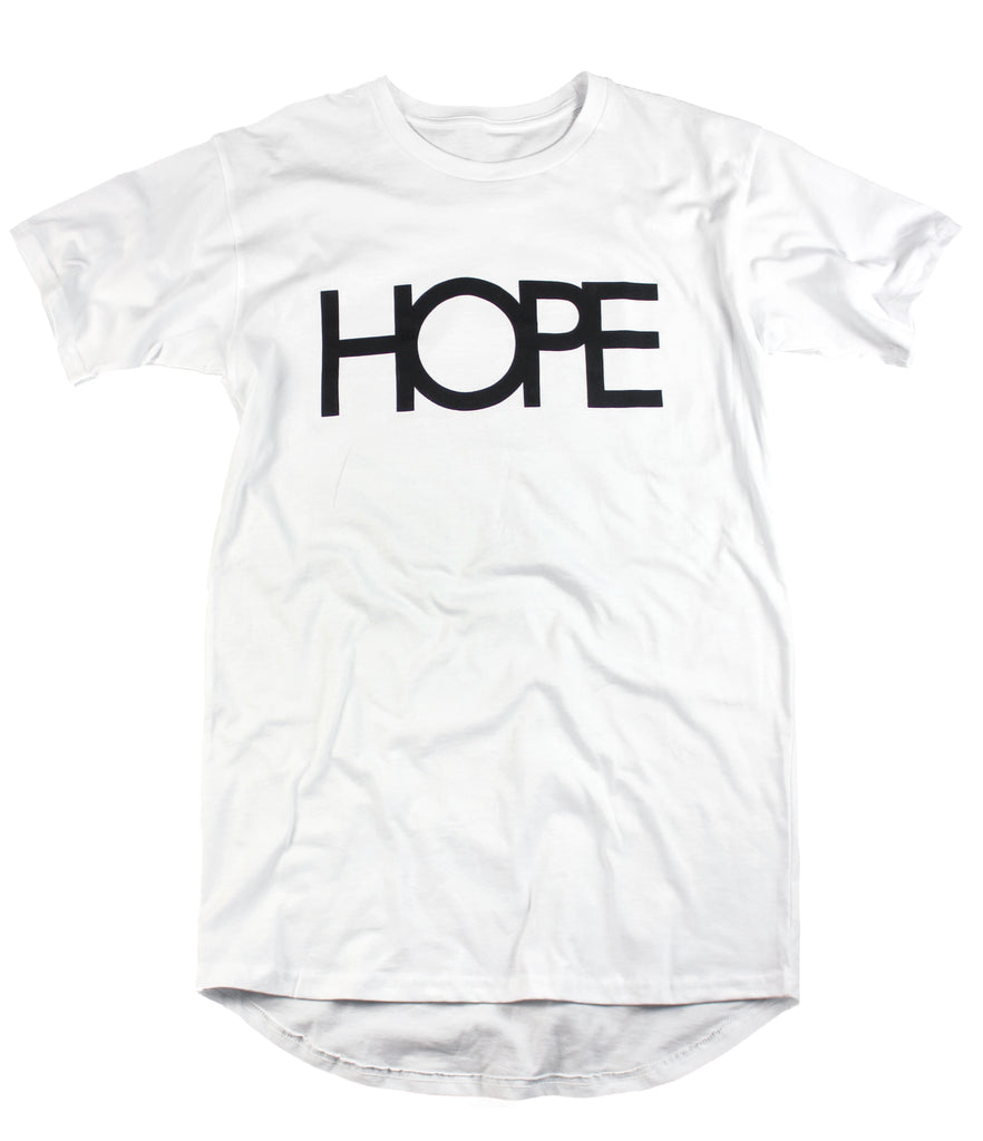 HOPE WHITE LONG-BODY T-SHIRT
