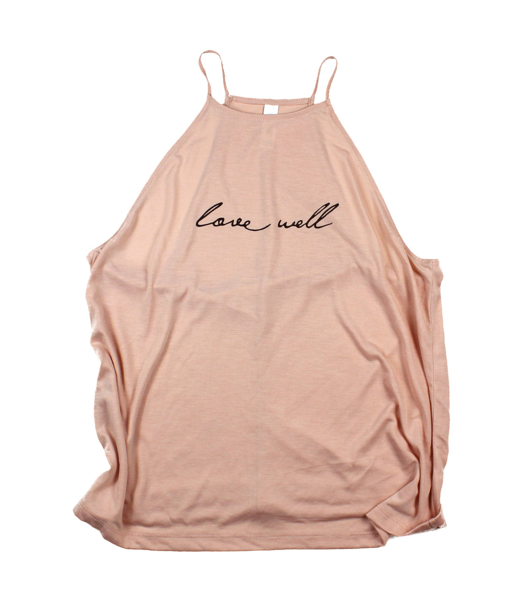 LOVE WELL PEACH WOMEN'S FLOWY HIGH NECK TANK