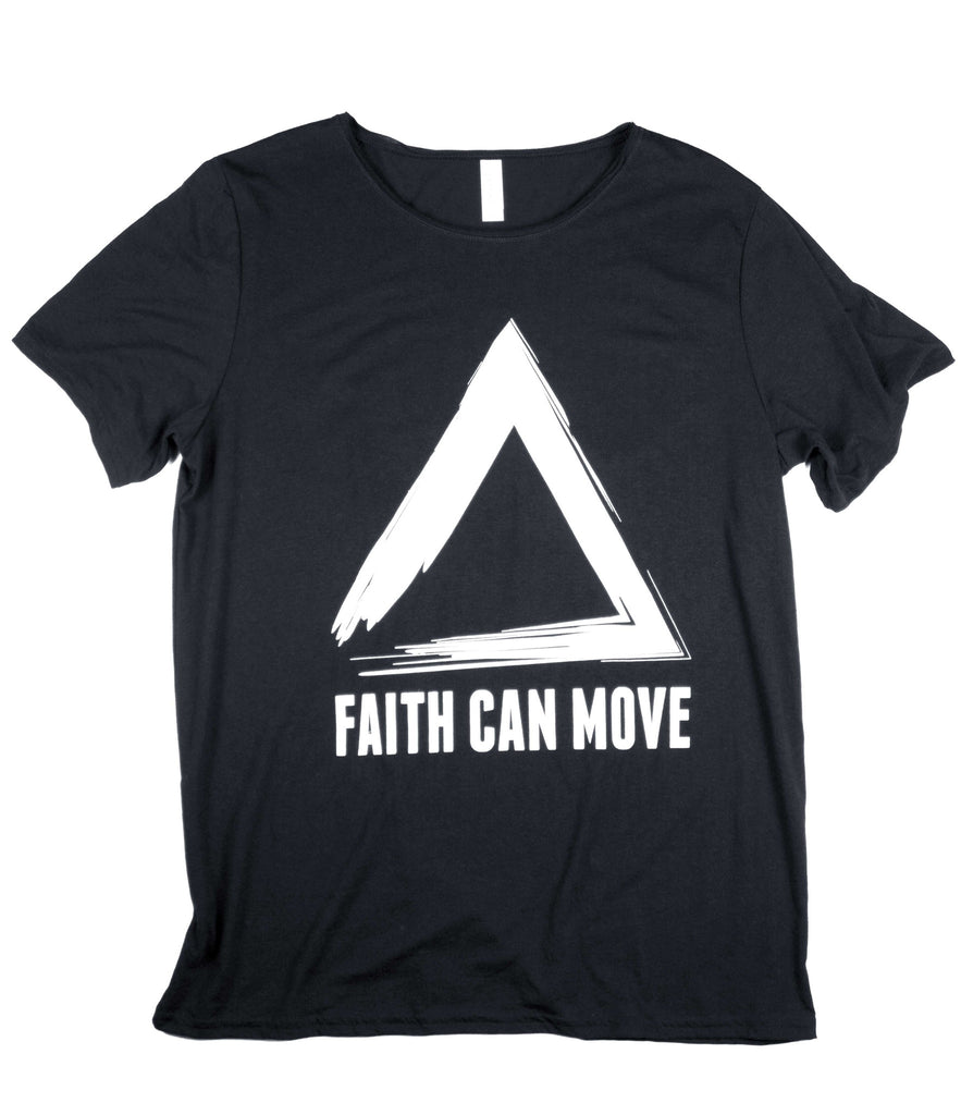 FAITH CAN MOVE MOUNTAINS BLACK RAW NECK T-SHIRT