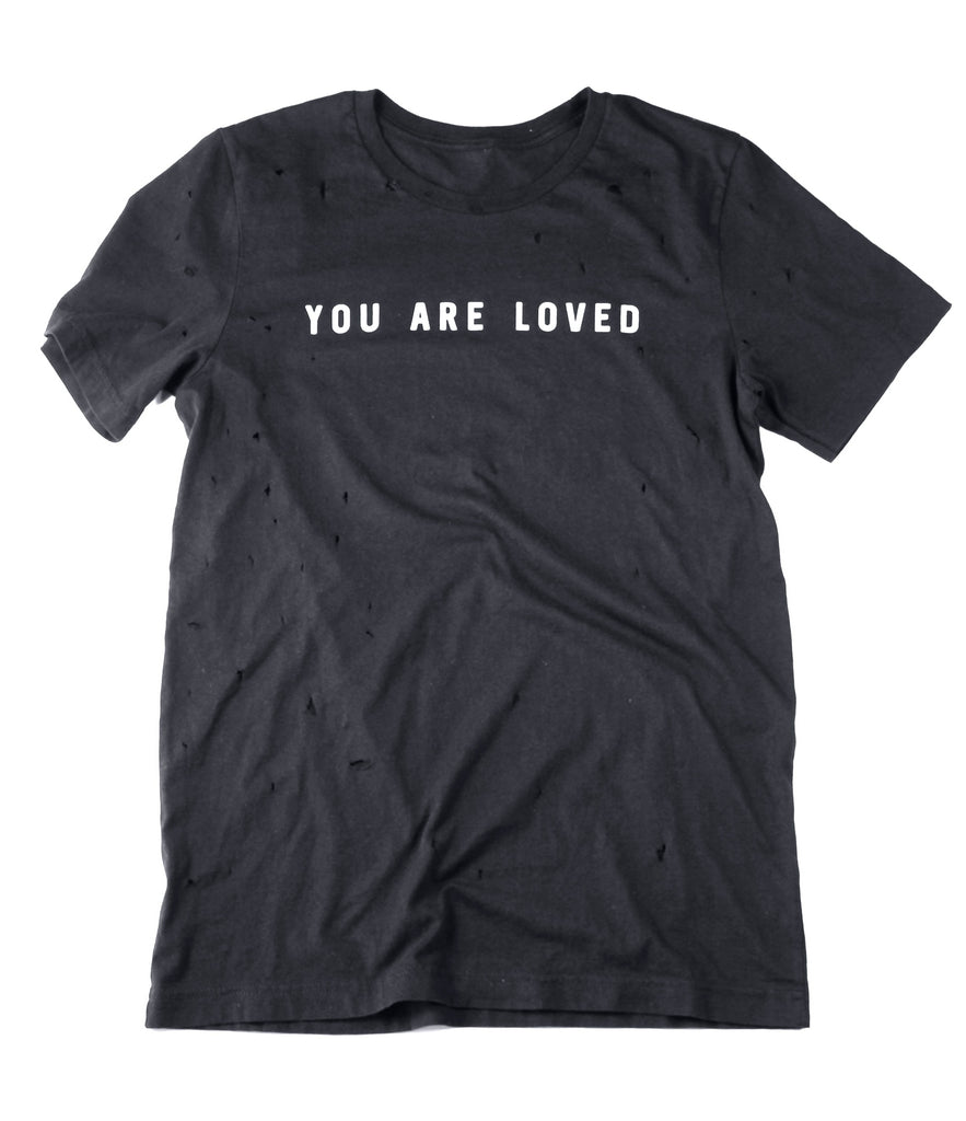 YOU ARE LOVED BLACK VINTAGE DISTRESSED T-SHIRT