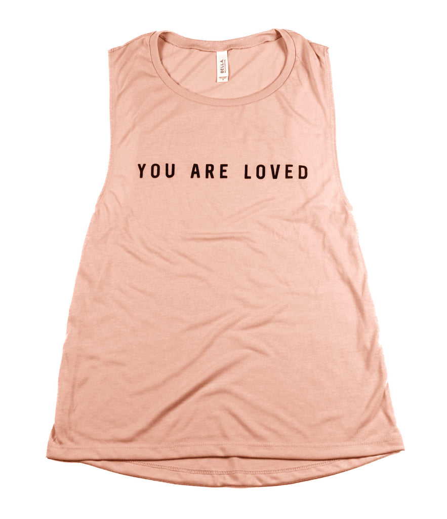 YOU ARE LOVED PEACH WOMEN'S FLOWY MUSCLE TANK