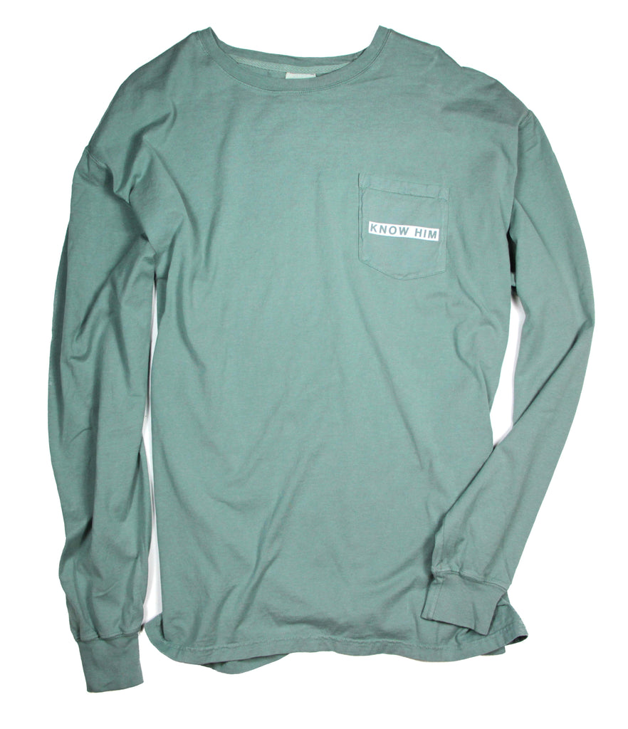 KNOW HIM & MAKE HIM KNOWN VINTAGE GREEN POCKET LONG-SLEEVE