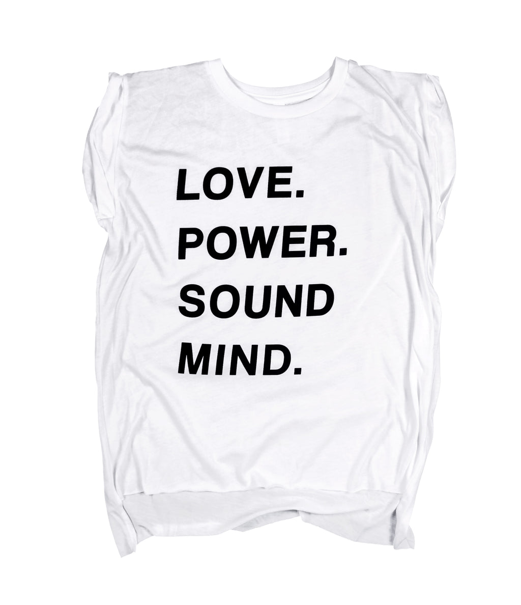 LOVE POWER SOUND MIND WHITE WOMEN'S ROLLED CUFF MUSCLE T-SHIRT