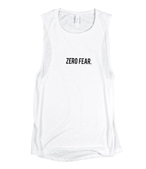 ZERO FEAR WHITE WOMEN'S FLOWY MUSCLE TANK