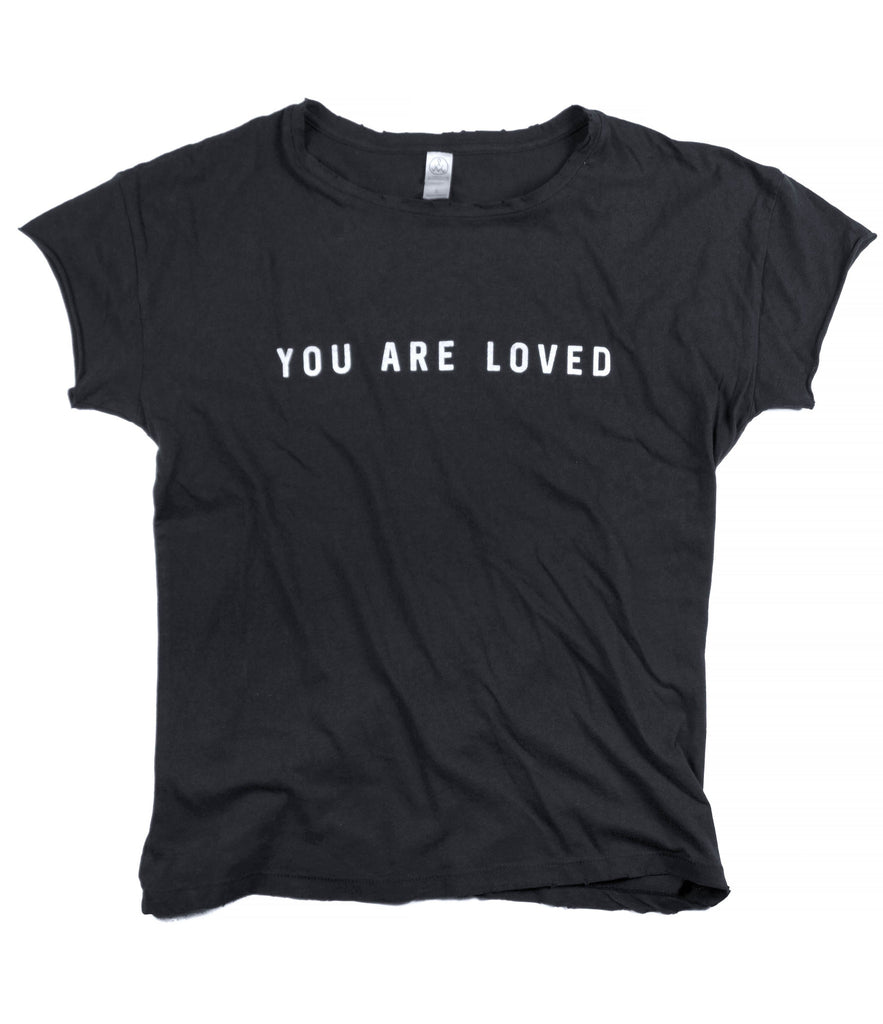 YOU ARE LOVED BLACK DISTRESSED WOMEN'S FITTED T-SHIRT