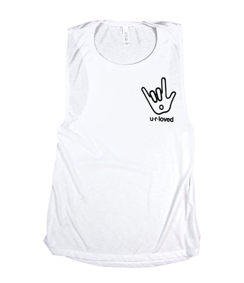 U.R.LOVED WHITE WOMEN'S FLOWY MUSCLE TANK