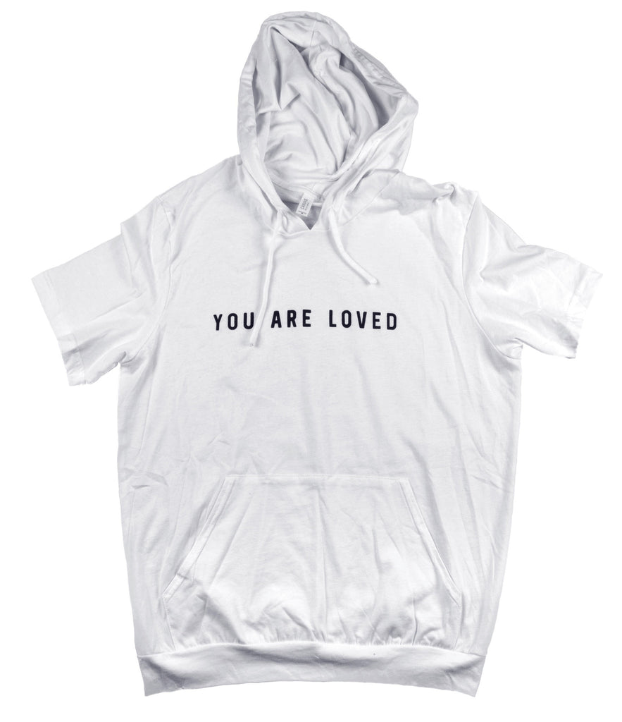 YOU ARE LOVED WHITE JERSEY SHORT SLEEVE HOODIE