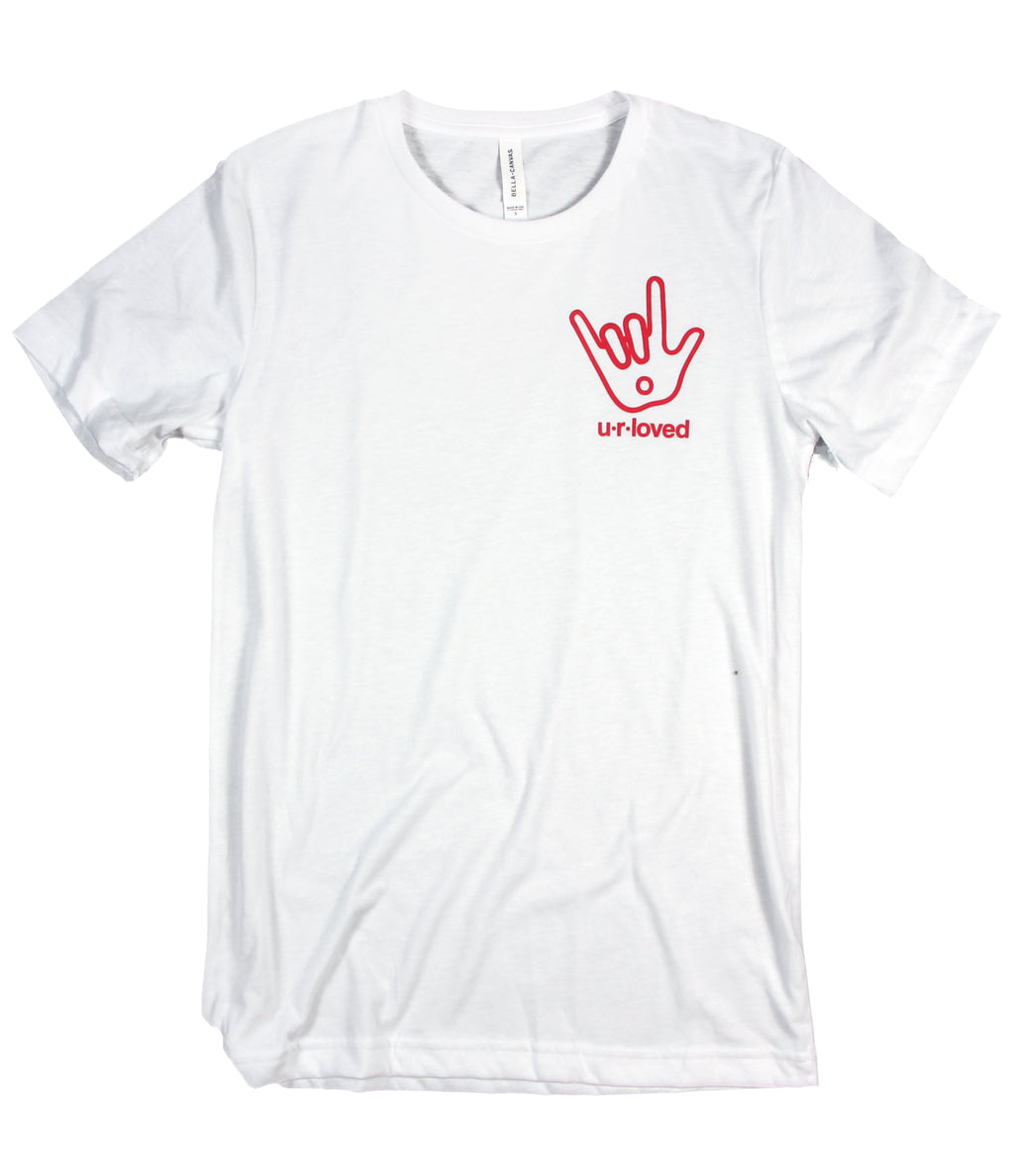 U.R. LOVED SIGN LANGUAGE WHITE T-SHIRT
