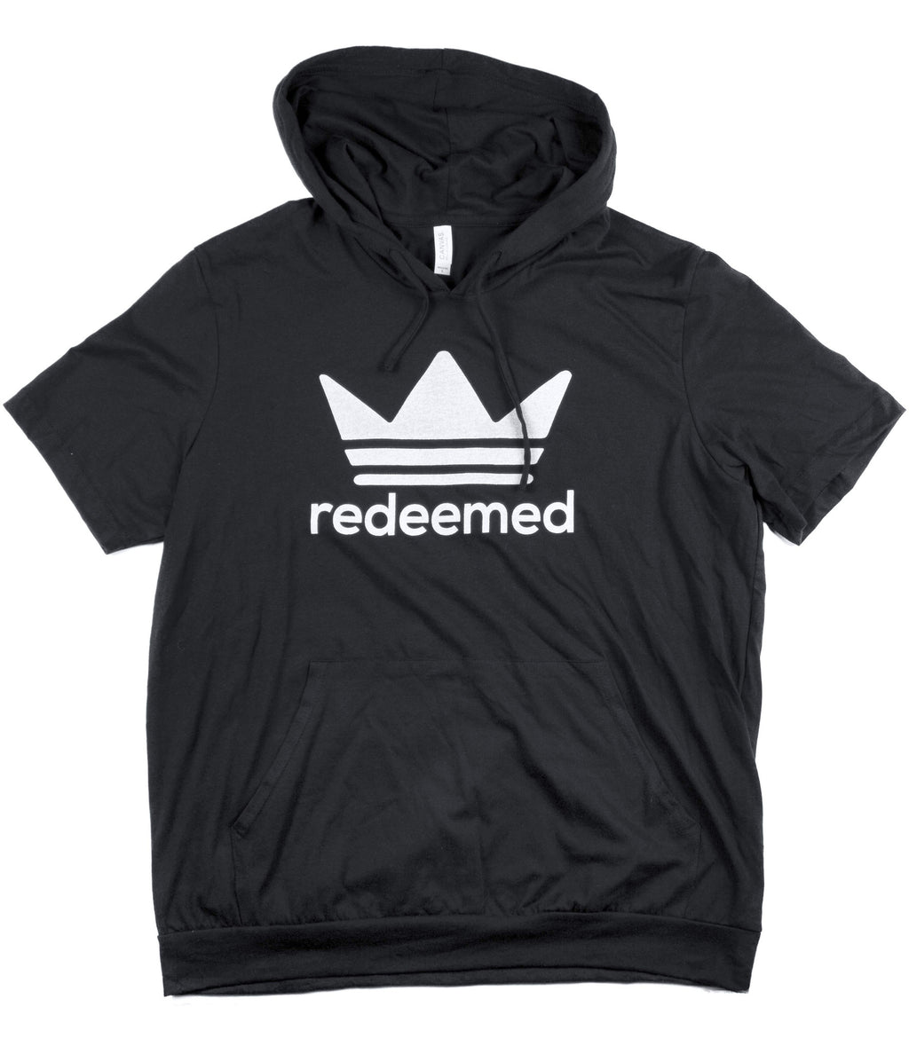REDEEMED BLACK JERSEY SHORT SLEEVE HOODIE
