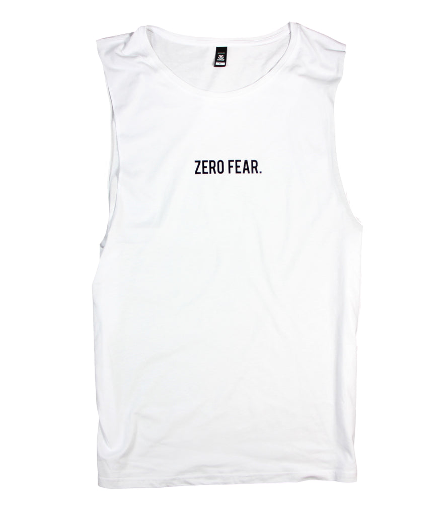 ZERO FEAR WHITE MUSCLE TANK